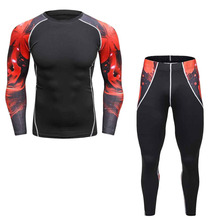Men's Compression Suits Clothes 3D print Set Long t shirt And Pants Fitness workout Tights clothing 2pcs/Sets