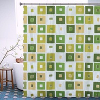 Geometric Green Square Bath Curtain Hot Sale Europe Waterproof Mold Proof Polyester Bathroom Shower Curtain With