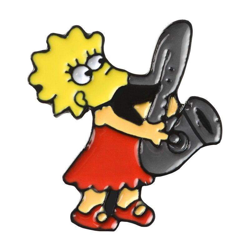Булавки Симпсоны пончик забавные дизайнерские броши значки Юмор мультфильм рюкзак с эмалевыми вставками булавки для любителей аниме подарки ювелирные изделия оптом - Окраска металла: Style 19