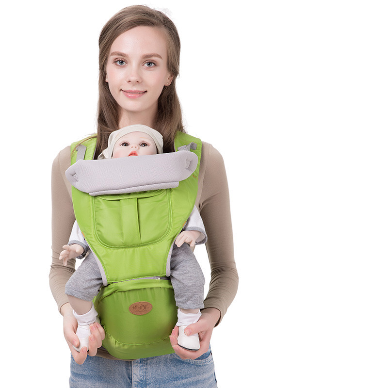 Baobaolong 0-48 Months Baby Carrier Hip Seat 2 in 1 Cartoon Cotton Infant Backpack Kids Shoulders Carry Baby Kangaroo loose splicing design plain black color zipper front hooded sweatshirt