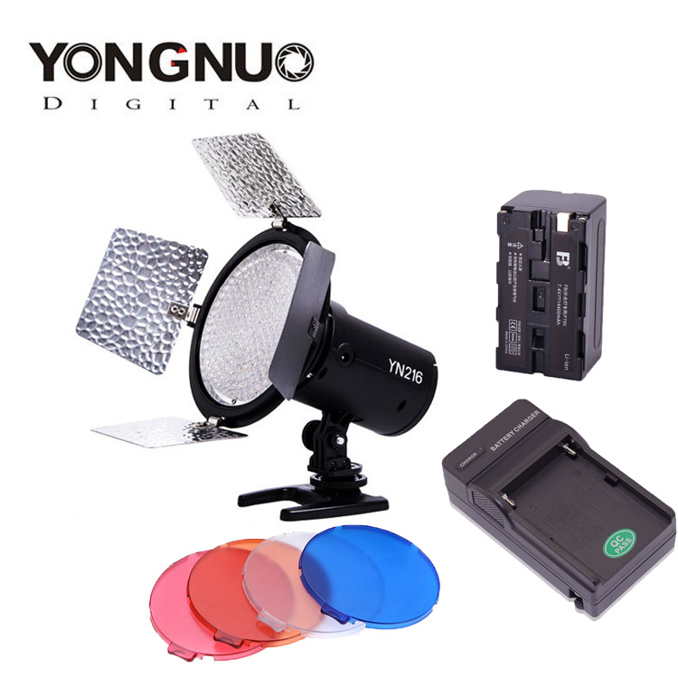 Yongnuo YN216 Pro LED Studio Video Light with 4 Color Plates for Canon Nikon Sony Camcorder DSLR + NP-F750 Battery + Charger прицел nikon monarch 3 4 16x50 matte np