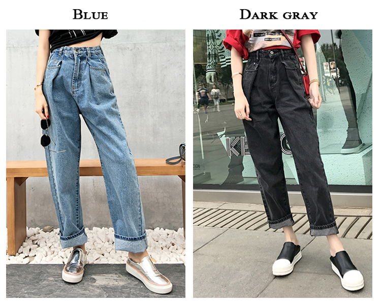 Guuzyuviz Vintage Casual Autumn Winter Jeans Woman High Waist Patch Work Cotton Washed Denim Pants Mujer Wide Leg Trousers Durable Service Women's Clothing Jeans