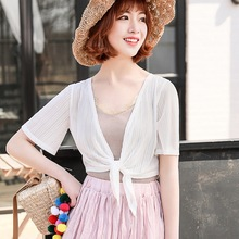 Women Hollow Out Thin Cardigan Summer Sunscreen Short Sleeved Lace Top