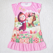 New Masha And Bear Dresses For Girls Dress Children Sleep Kids Clothes Nightgowns Ropa Roupas Children