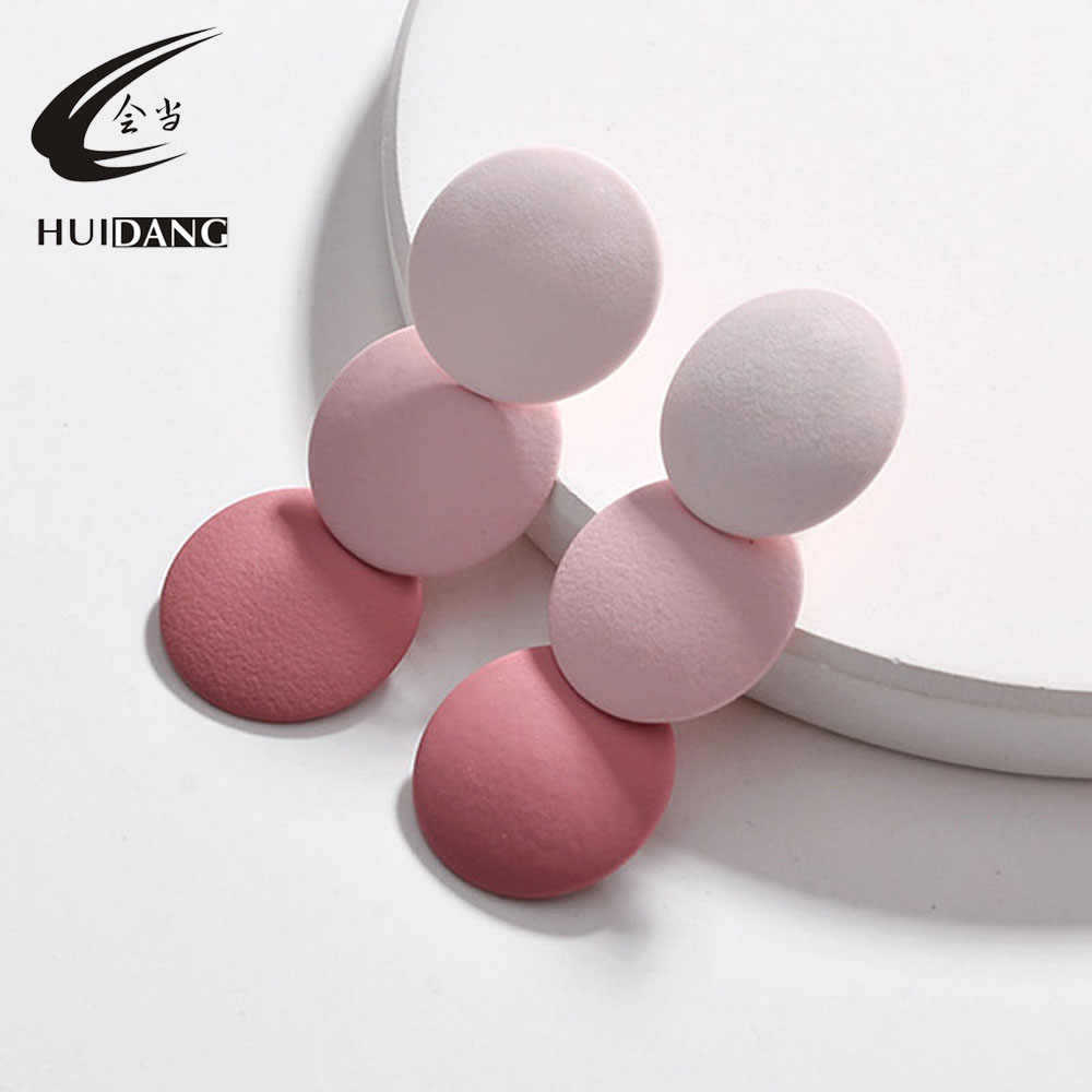 HUIDANG 2019 Fall winter new paint gradient color stacked round disc statement earrings for women