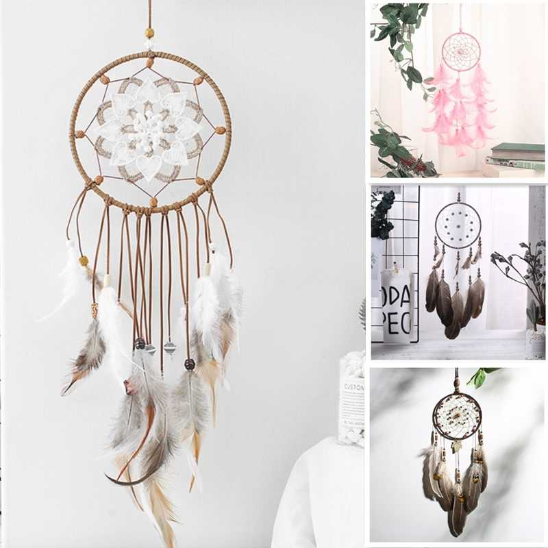 Vintage Circular Dreamcatchers Retro Feather Decoration For Car Wall Hanging Dream Catcher Net With Feathers Wall Hanging Decor