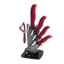 High-End Acryl Küche Keramik Messerhalter XYJ Marke Messer Stand Block Für Peeler + 3, 4, 5, 6 Zoll Keramikmesser 6-teiliges Set