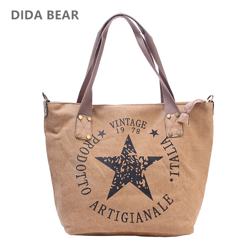 DIDA BEAR Brand New Women Canvas Handbags Lady Large Space Tote Bag for Shopping Travel Female Shoulder Bags Bolsas Stars Letter 2017 new classic large tote with lock lady messenger bags genuine leather handbags women shoulder bag for female bolsas qn048