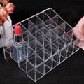 Hot!!!Generic 24 Stand Trapezoid Clear Lipstick Lotion Makeup Cosmetic Holder Storage Display Stand 2016 beauty new arrive lip