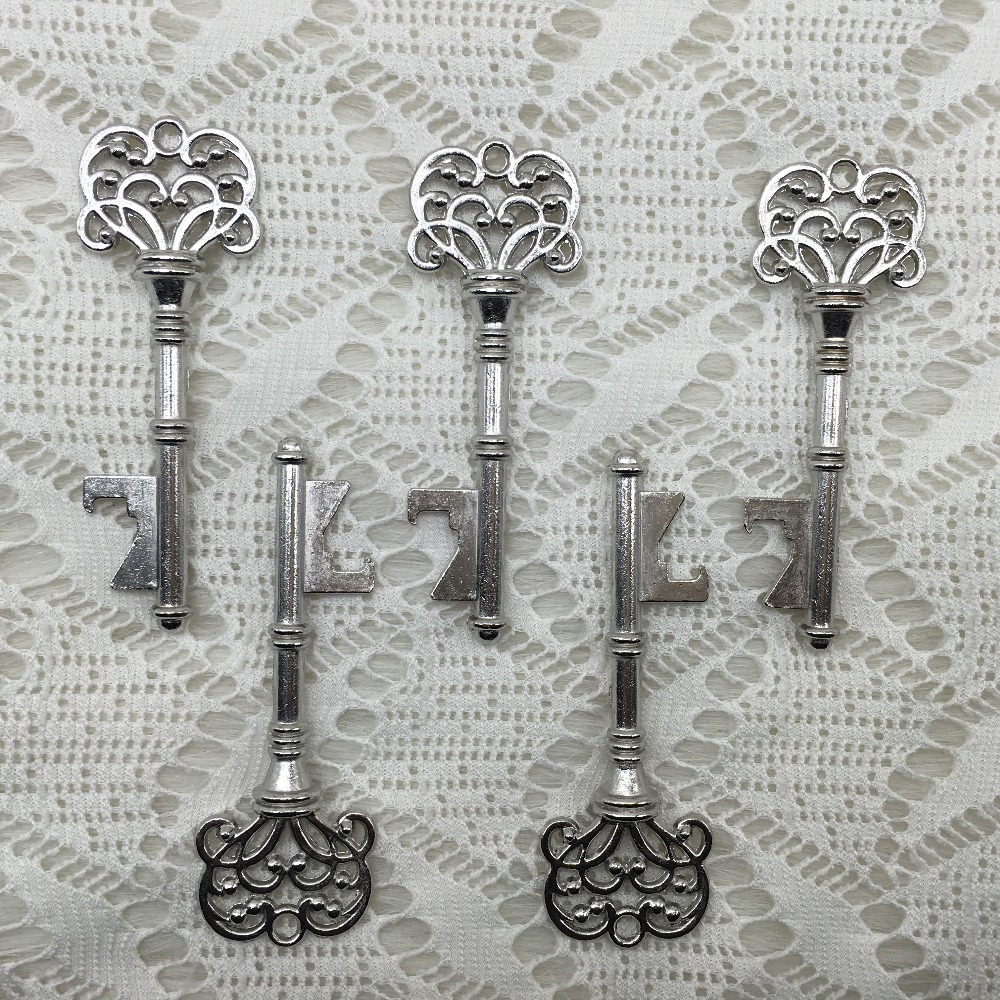 100pcs/lot Classic Creative Wedding Favors Party Back Gifts for Guest Silver Skeleton Key Beer Bottle Opener