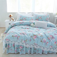 New pastorale ruffle lace bedding set elegant princess bedding matching duvet cover flower queen king size bedspread bed skirt