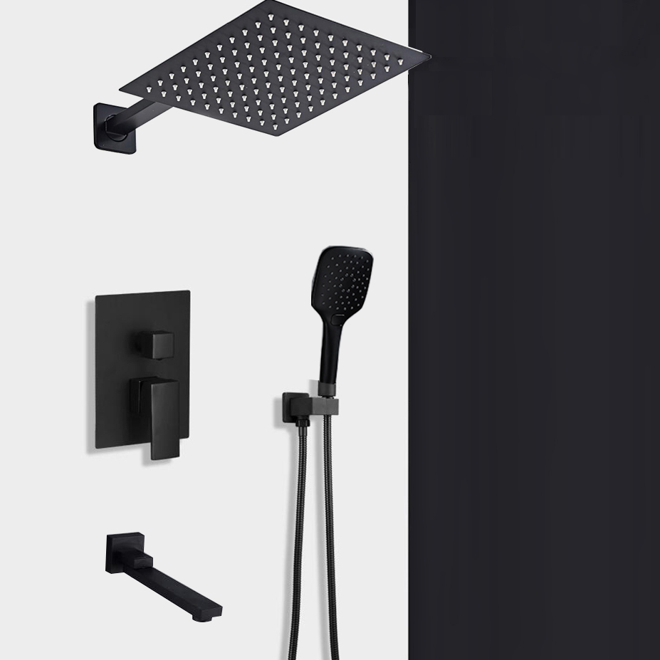 BAKALA Shipping Black Concealed Shower Faucets Set stainless steel Rainfall Shower Head Single Handle Mixer Tap
