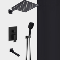 BAKALA Shipping Black Concealed Shower Faucets Set stainless steel Rainfall Shower Head Single Handle Mixer Tap Bathroom Shower