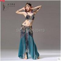 New style belly dance costume sexy Peacock Hand bra+senior chiffon skirt 2pcs set belly dance stage wear set