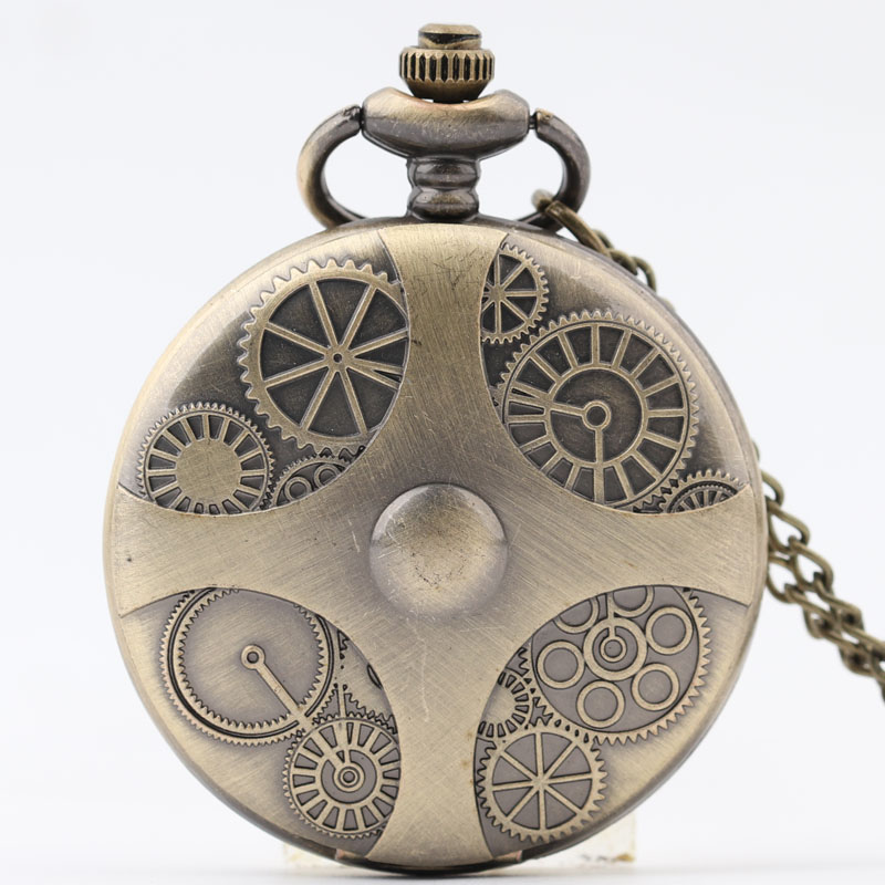 Pocket & Fob Watch Retro Gear Pocket Watch With Necklace chain Quartz Watches for Men/Women Gift