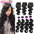 Brazilian Virgin Hair Body Wave With Closure 4 Bundles Brazilian Body Wave With Closure Ms Ariel Hair Products Human Hair Weave