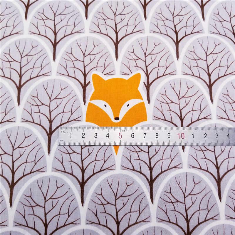 ใหม่ Bear & Fox สัตว์พิมพ์ผ้าฝ้าย 100% เมตรสำหรับ Patchwork Quilting เปลเด็กหมอนอิงผ้าห่มเย็บวัสดุ 50x40 ซม.