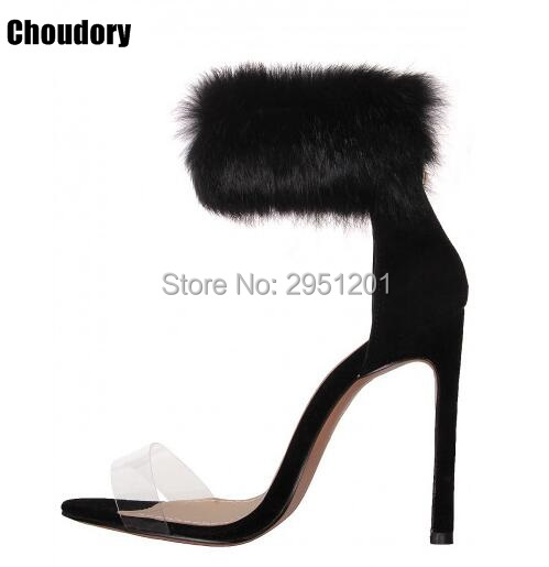 Women Summer Shoes gladiator High Heel Transparent Sandals 2017 Fashion Fur thin heels  women Sandals Sexy Ladies Shoes 35-42 цены онлайн