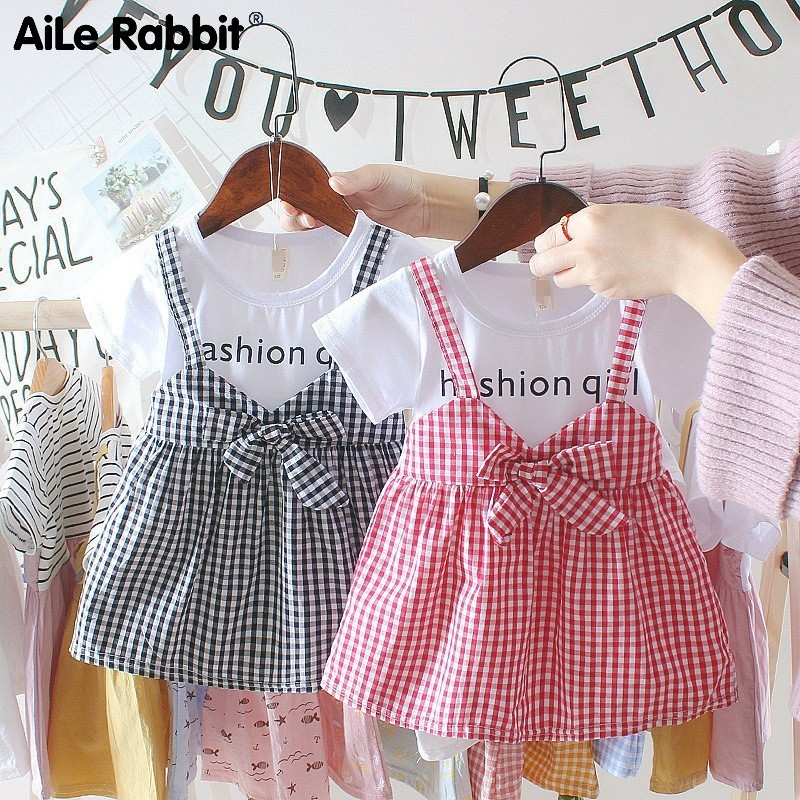Aile Rabbit 2019 New <font><b>Baby</b></font> <font><b>Girl</b></font> <font><b>Dress</b></font> Plaid Strap <font><b>Dress</b></font> Infant Summer Cotton Fashion Letter <font><b>Dress</b></font> Children's Wear 0-4 <font><b>Years</b></font> <font><b>Baby</b></font> image
