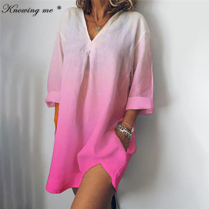 Knowing me <font><b>3XL</b></font> Gradient Color Summer Cotton Linen <font><b>Dress</b></font> women <font><b>sexy</b></font> V neck 3/4 Sleeve short sleeve pocket mini <font><b>dress</b></font> beach <font><b>dress</b></font> image