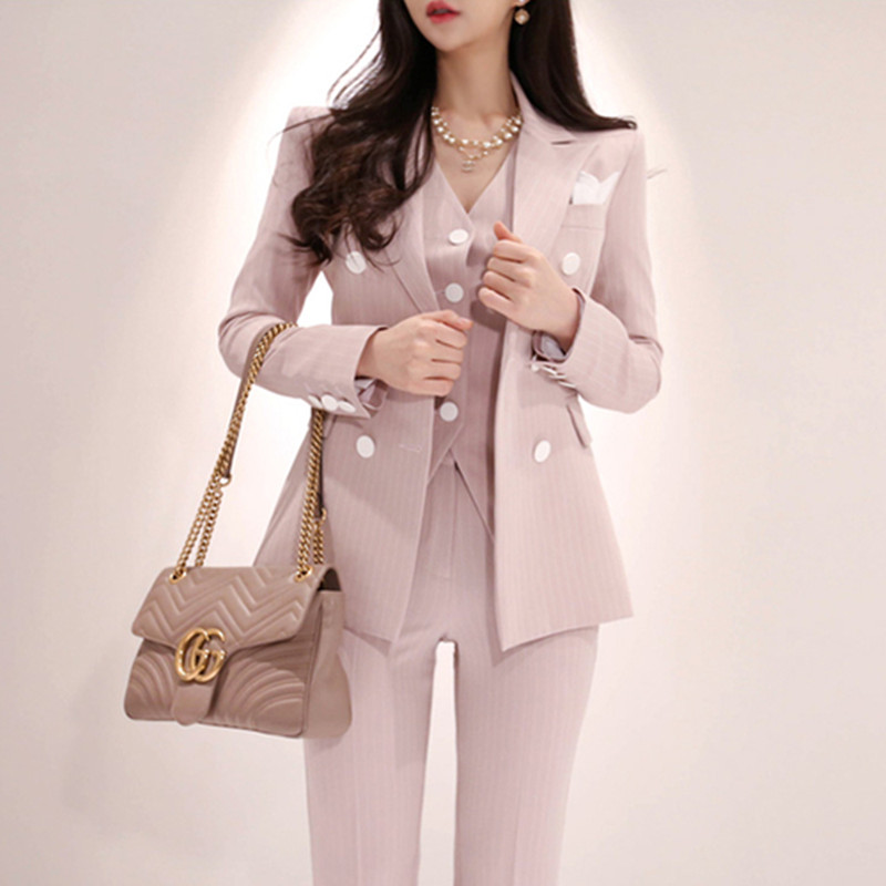 High Quality 2019 Spring Plaid 3 Piece Sets Vintage Double Breasted Blazer Vest Pant OL Work Casual Slim Suits