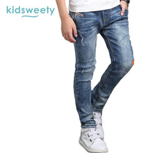 Kidsweety Boys Jeans Spring Worn Straight Light Blue Appliques Elastics Child Trousers Denim Full Length Pants Casual Boys Jeans