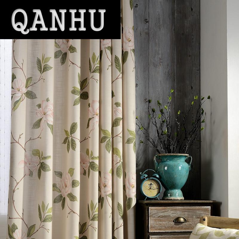qanhu flor cortina de polister de calidad para la sala de estar dormitorio