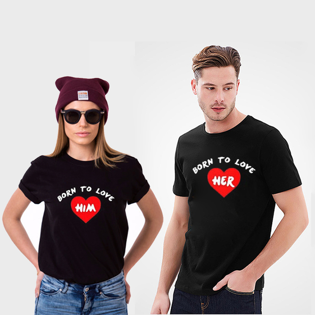 85fdc34e EnjoytheSpirit Couple T-shirt Born To Love Her & Him Matching Love Crewneck  T-shirts Casual Fit Fashion Style Tee