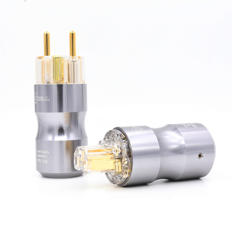 1Pair Gold Plated Schuko AC Power Plug DIY Mains Power cable EU Power Connector