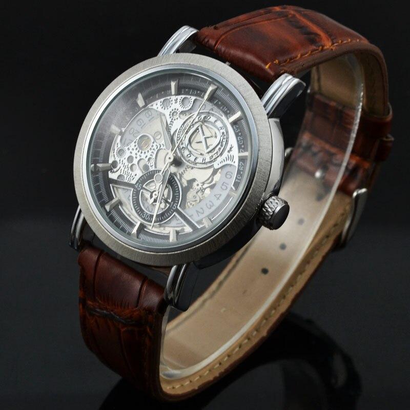 Relogio Masculino  Fashion Skeleton Automatic Mechanical Watch Men Brand Mechanical Watches Leather Strap Casual Wristwatch GOER