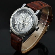 Relogio Masculino  Fashion Skeleton Automatic Mechanical Watch Men Brand Mechanical Watches Leather Strap Casual Wristwatch GOER forsining fashion creative automatic mechanical watch men skeleton tonneau dial leather strap unique casual watches dropshipping