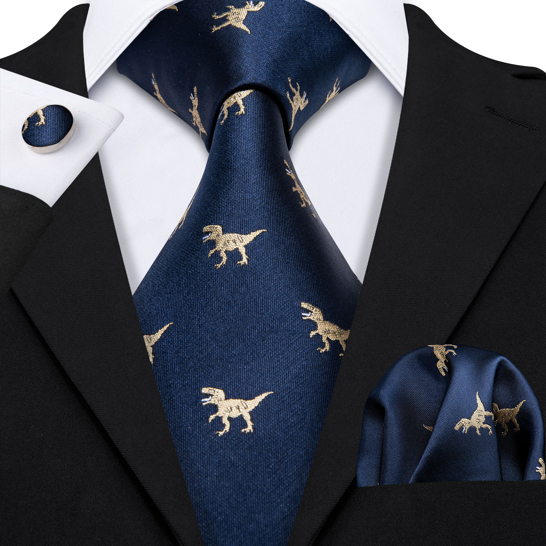 Barry.Wang Fahsion Designers Gold Dinosaur Mens Silk Ties Gravat Hanky Box Gifts Set Ties For Men Wedding Groom Neckties LS-5191