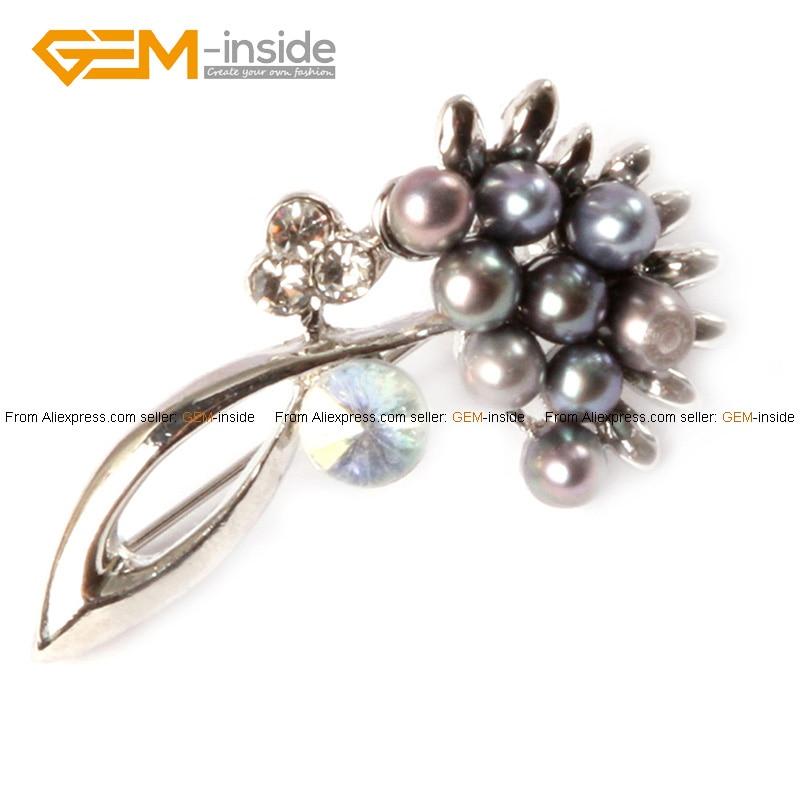 Broche de perlas 4 5mm Perla Cultivada Con Marco de la Flor de La ...