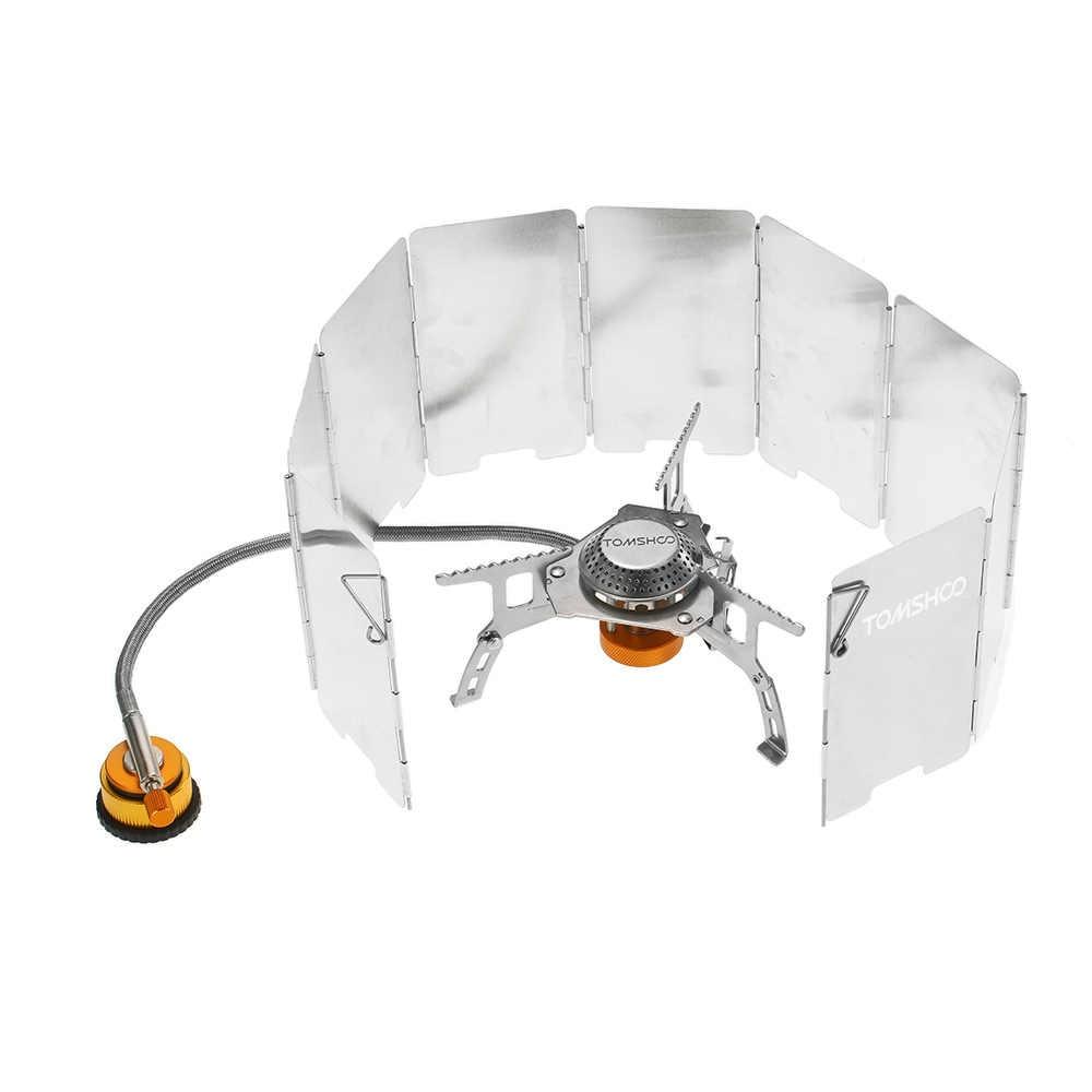 Tomshoo Foldable Gas Kompor Berkemah Di Luar Ruangan Kompor Pembakar + 9 Piring Angin Layar Kaca Depan + Gas Cartridge Kompor Adaptor Peralatan Masak