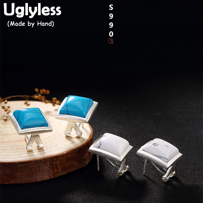 Uglyless S 990 Fine Silver Women Natural Turquoise Stud Earrings Retro Square Brincos Rhombus Fine Jewelry Ethnic Square Bijoux панно город подарков рог изобилия 25 5 х 20 5 см