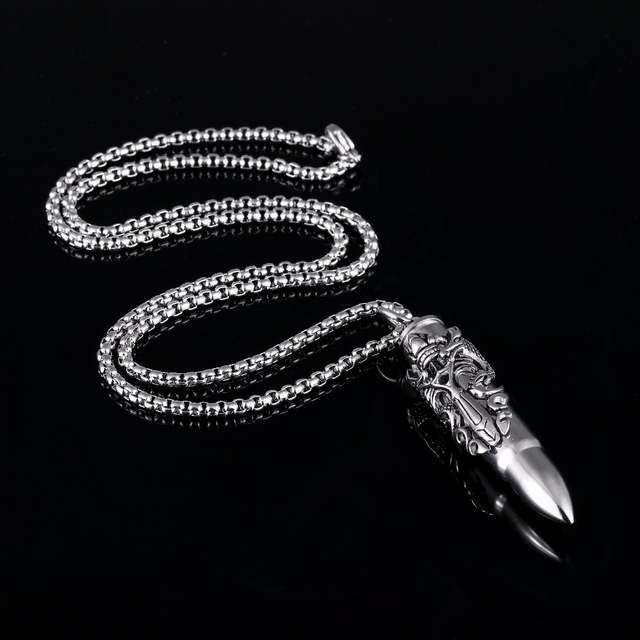 US $6 73 25% OFF|58mm Bullet Shaped Gothic Dragon Sword Medieval  Renaissance Cremation Urn Pendant Necklace in Stainless Steel Silver,  Gold-in Pendant