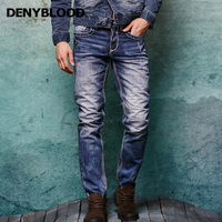 Thick Stitch Mens Distressed Jeans Ripped 3D Crinkle Whiskers Male Fashion Denim Cargo Pants Vintage Washed