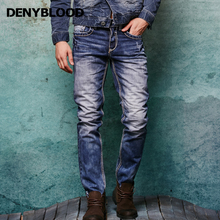 Thick Stitch Mens Distressed Jeans Ripped 3D Crinkle Whiskers Male Fashion Denim Cargo Pants Vintage Washed Casual Pants 146038C