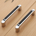 Bedroom Furniture door pull Zinc Alloy Cabinet Handle Cupboard Drawer Pull Kitchen Handle Modern Black 96mm Hole spacing
