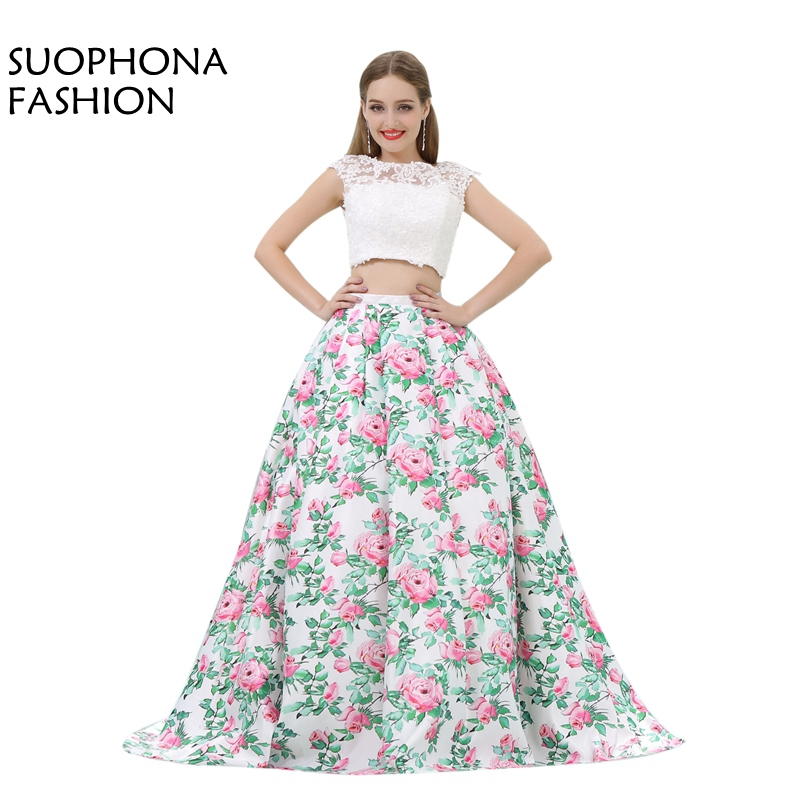 Fashion Custom Made Floral Print Two Piece Prom Dresses