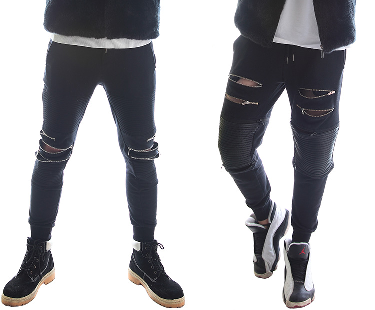 Black Cotton Popular Male Hair Stylist Zipper Pants Nightclub Bar Male Singer Stage Performance Fashion Costume