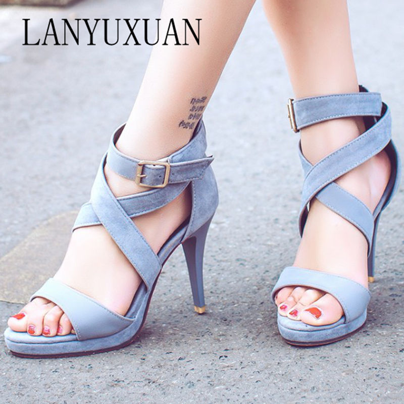 LANYUXUAN New plus Big Size 32-48 Fashion Party Shoes Woman Sexy High Heels Summer Pumps Ankle Strap Sandals Women Shoes 8675 big size 32 44 ankle strap patch color super hoof high heels platform shoes woman spring summer pumps party dress shoes sexy
