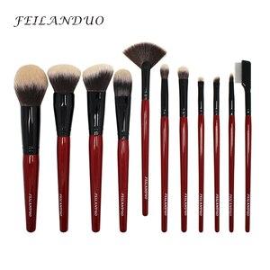 Image 2 - FEILANDUO 11 pièces ensemble de pinceaux de maquillage professionnel haute qualité PBT outils de maquillage T004 pinceaux de maquillage outil de cosmétiques