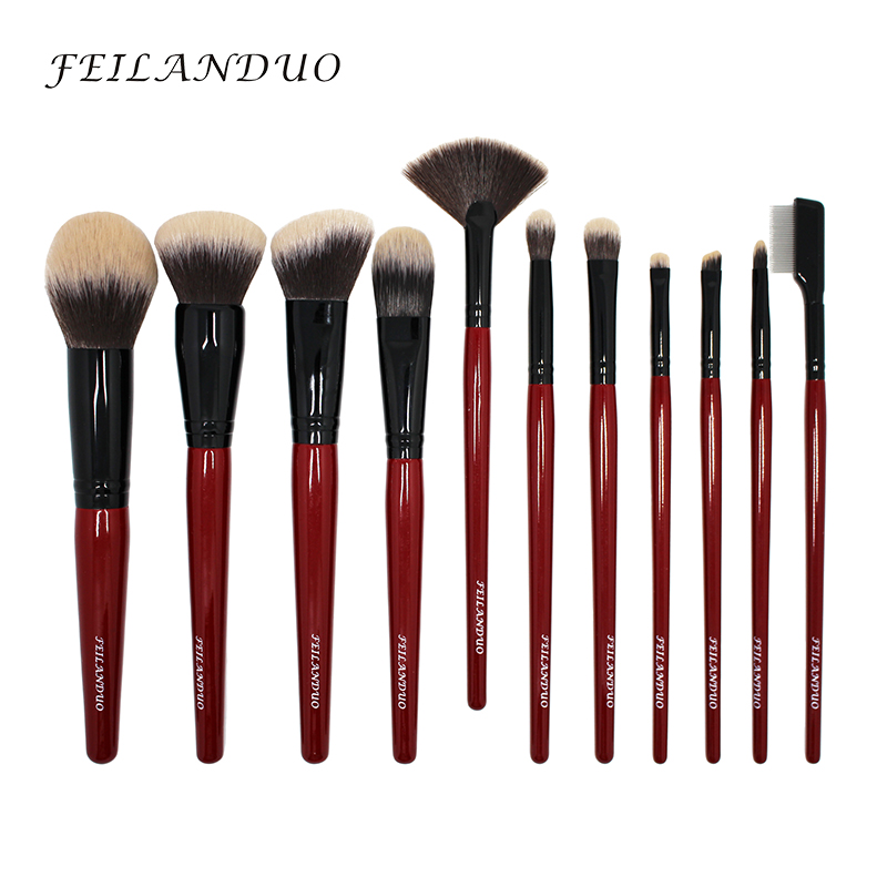 Image 2 - FEILANDUO 11pcs Professional Makeup Brush Set High Quality PBT Makeup Tools T004 Make Up Brushes Cosmetics Tool-in Eye Shadow Applicator from Beauty & Health