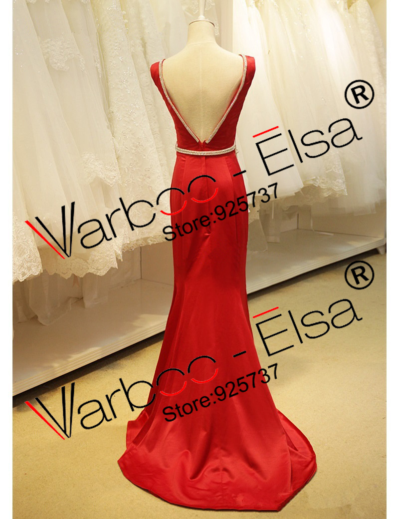 abendkleider 2018 red mermaid prom dress satin crystal beading long ...