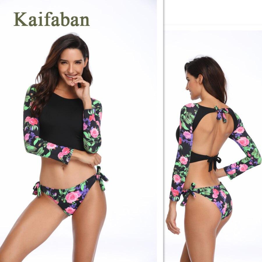 Women Long Sleeve Print Patchwork Strap Sexy Bikini Swimsuit Swimwear 2019 Bandage Sunscreen Bathsuit Tankini Biquini Maillot