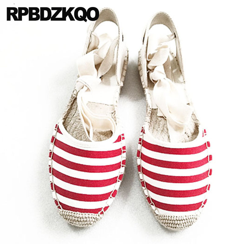 Sandals Striped Ankle Strap Glitter Mesh Slingback Women Hemp Canvas  Espadrilles Shoes Rope Large Size Sequin Cheap Flats Lace 9e9dbfe8a0ab
