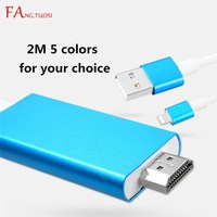 FANGTUOSI HDMI AV TV Cable For Lightning To HDMI Cable Digital Adapter USB Cable 1080P 2M