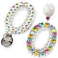 Long Big  Sky Blue Topaz, Peridot, Pink Tourmaline, Citrine SheCrown Created Woman's Wedding   Silver Earrings 55x27mm