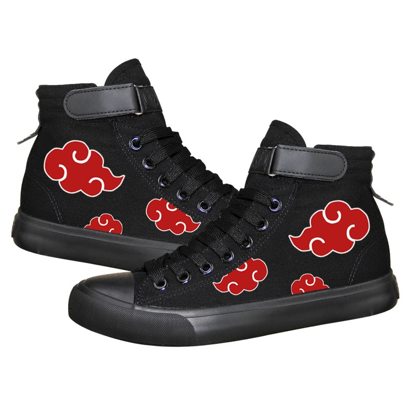 High-Q Unisex Anime Cos Naruto Canvas Shoes Uchiha Itachi Akatsuki Casual Plimsolls Canvas Shoes Rope Soled Shoes